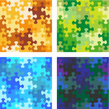 Seamless whimsical jigsaw puzzle patterns vector illustration