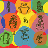 Seamless whimsical pattern with cactus. And circles stock illustration