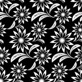 Seamless white abstract flower Pattern on black Royalty Free Stock Photography