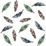 Seamless feather background. Seamless white background with different outline feathers vector illustration