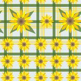 Seamless white background in green cage with yellow sunflowers stock illustration