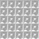 Seamless white background made of an array of 3d pyramid shapes. Endless background pattern made of white pyramids vector illustration