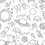 Seamless white background with stars and spaceships. Vector pattern with stars and space for design Royalty Free Stock Photo