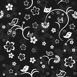 Seamless white and black pattern with birds and flowers Royalty Free Stock Photo