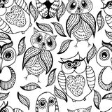 Seamless white and black pattern of four different owls Royalty Free Stock Photos