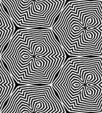 Seamless White and Black Polygonal Pattern.Stripes  Decreasing Toward the Center create the illusion of depth and volume Stock Photos