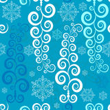 Seamless white-blue christmas pattern (vector) Royalty Free Stock Photo