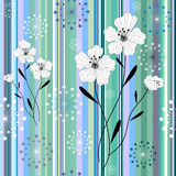 Seamless white-blue floral striped pattern Stock Images