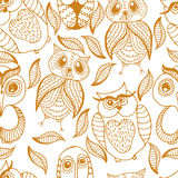 Seamless white and brown pattern of four different owls Royalty Free Stock Photos
