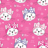 Seamless white cat face pattern vector illustration Royalty Free Stock Photos