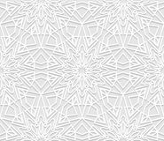 Seamless white 3D pattern, arabic motif,  east ornament Stock Image