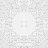 Seamless white 3D pattern, arabic motif, mandala background Stock Photo