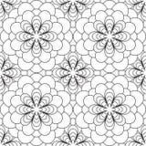 seamless white för svart blom- modell Arkivfoton