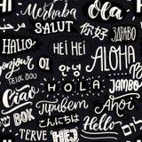 seamless white för svart modell Internationell mångkulturell kommunikation Ordhälsningar i olika språk av vektor illustrationer