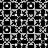 seamless white för svart prydnadmodell stock illustrationer