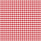 Seamless white fabric texture in a red cell background for desig. Background pattern white red checkered tablecloth fabric cloth texture picnic textile retro vector illustration