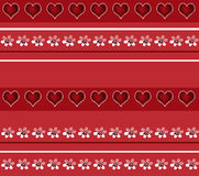 Seamless white floral and hearts pattern on red Stock Images