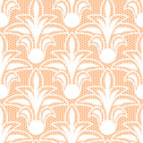 Seamless white floral lace pattern. On beige background Stock Images