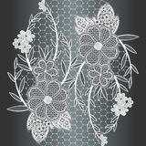 Seamless white floral lace ribbon. Stock Photo