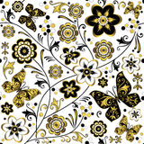 Seamless white floral pattern Stock Photo