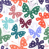 Seamless white floral pattern with butterflies Royalty Free Stock Images