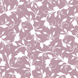 Seamless white floral pattern on purple. Vector illustration. Royalty Free Stock Photo