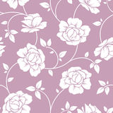 Seamless white floral pattern on purple. Vector illustration. Royalty Free Stock Images