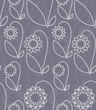 Seamless with white flowers. Seamless pattern with white abstract flowers on grey background (can be repeated and scaled in any size Stock Illustration
