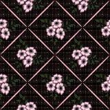 Seamless white flowers pattern green background Stock Photos