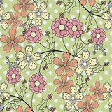 Seamless white flowers pattern specks background Royalty Free Stock Image