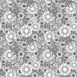 Seamless white flowers pattern .stylish texture grey background Stock Photos