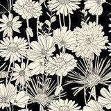 seamless white för svart blom- modell Fotografering för Bildbyråer