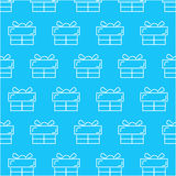 Seamless white gift box abstract pattern with blue background, vector, copy space for text, pastel theme, pa Stock Photos