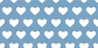 Seamless white heart pattern on blue background stock illustration