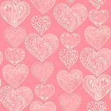 Seamless white hearts vertical pattern Stock Image