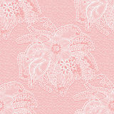 Seamless white lace fabric on a pink background. Large floral pattern for design wedding invitation or greeting card. Stock Photos