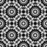 Seamless white lace pattern print on black Royalty Free Stock Image