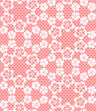 Seamless white lace pattern. On red background Stock Photos