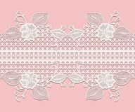 Seamless white lace ribbon with floral elements for design greeting cards or wedding invitations isolated on pink Royalty Free Stock Photos