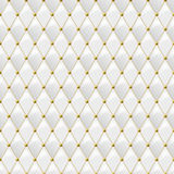 Seamless white leather texture with gold metal details. Vector leather background Stock Photography