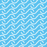 Seamless white line curve abstract pattern with blue background Stock Image