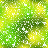 Seamless of White little flowers with little stars on light gree. Original seamless for your design Royalty Free Stock Images