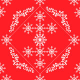 Seamless white openwork floral pattern on a red background Stock Photography