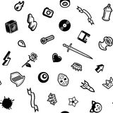 Seamless White Pattern. With Black Symbols Stock Images
