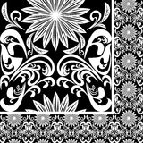 Seamless white Pattern on black background Stock Photography