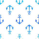 Seamless white pattern with blue anchors Royalty Free Stock Photo