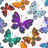 Seamless white pattern with butterflies Stock Image