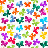 Seamless white pattern with butterflies Stock Photos