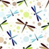Seamless white pattern with dragonflies Stock Photos