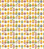 Seamless white pattern with easter eggs Stock Photos